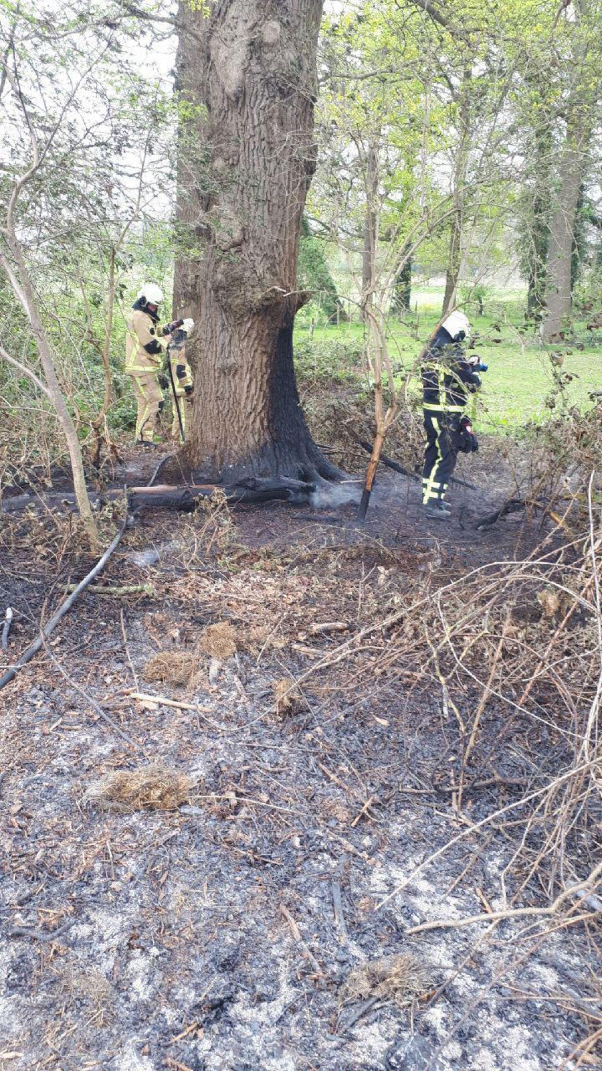 Snoeiafval aan Rijksweg Delden vat vlam door droogte