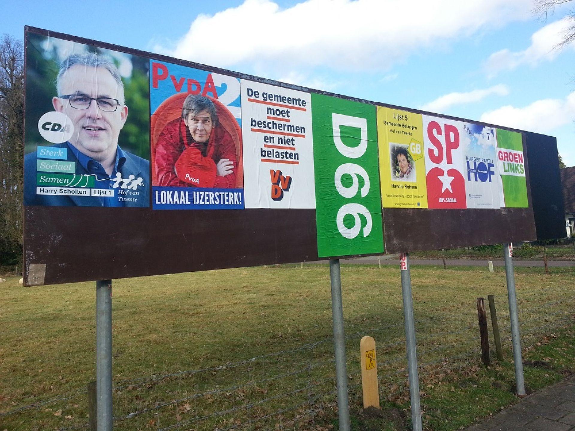 Verkiezingsposters plakken verleden tijd in Delden