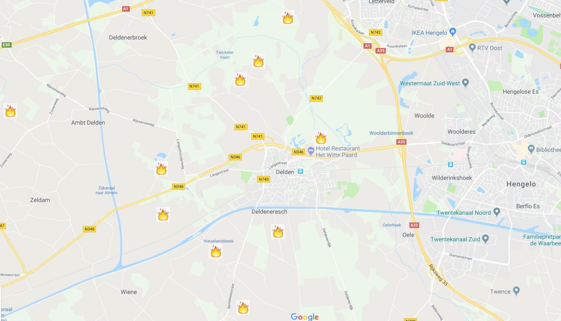 Locaties paasvuren rondom Delden in kaart